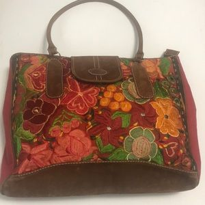Guatemalan Embroidered Crewel & Leather Purse